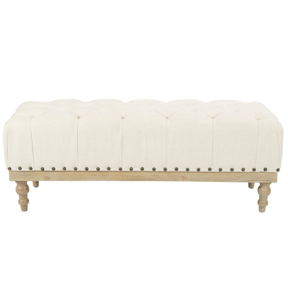 Abigail Linen Fabric with Antique Bronze Nailheads Bench