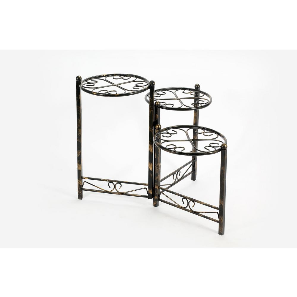 ORE International 3-Tier Heart Clover Round Iron Metal Plant Stand