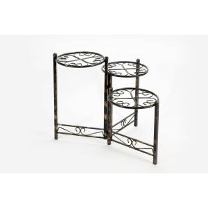 24.41 in. Three Tier Heart Clover Black/Gold Round Plant Stand