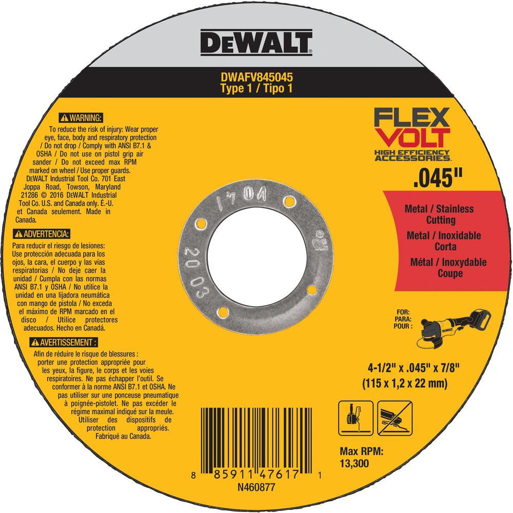 FlexVolt 4-1/2 in. x 0.045 in. x 7/8 in. Cutting Wheel