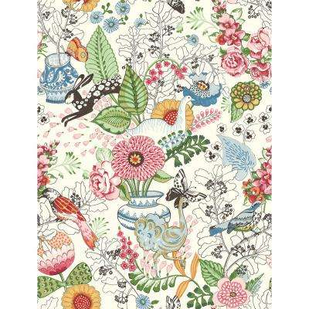 56.4 sq. ft. Whimsy Multicolor Fauna Wallpaper