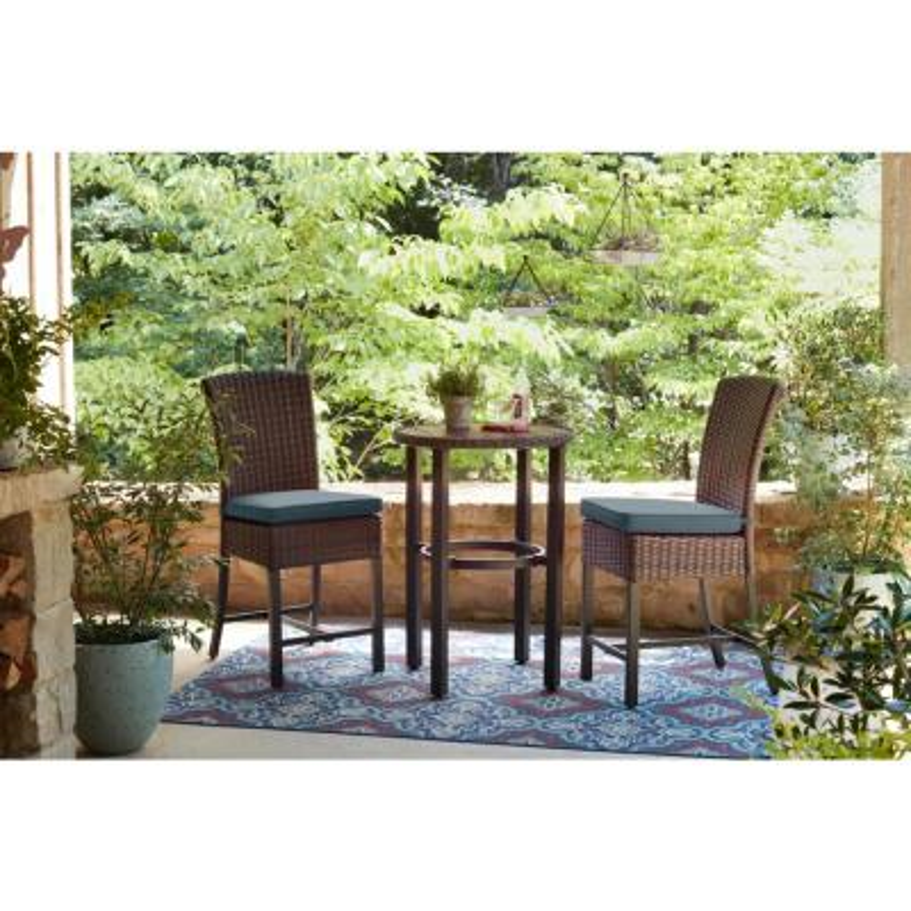 Harper Creek 3-Piece Brown Steel Outdoor Patio Bar Height Dining Set with Sunbrella Denim Blue Cushions
