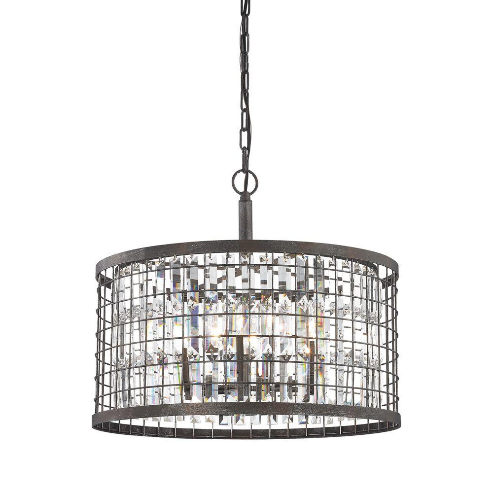 An Lighting Nadina 6 Light Silverdust Iron Chandelier With Metal And Crystal Shade