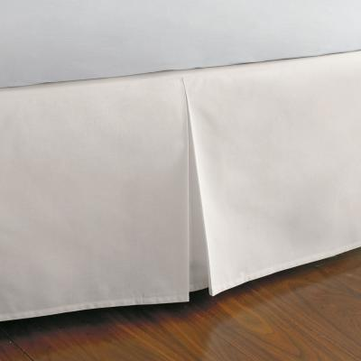 Classic Cotton Percale 14 in. Ivory Solid California King Bed Skirt