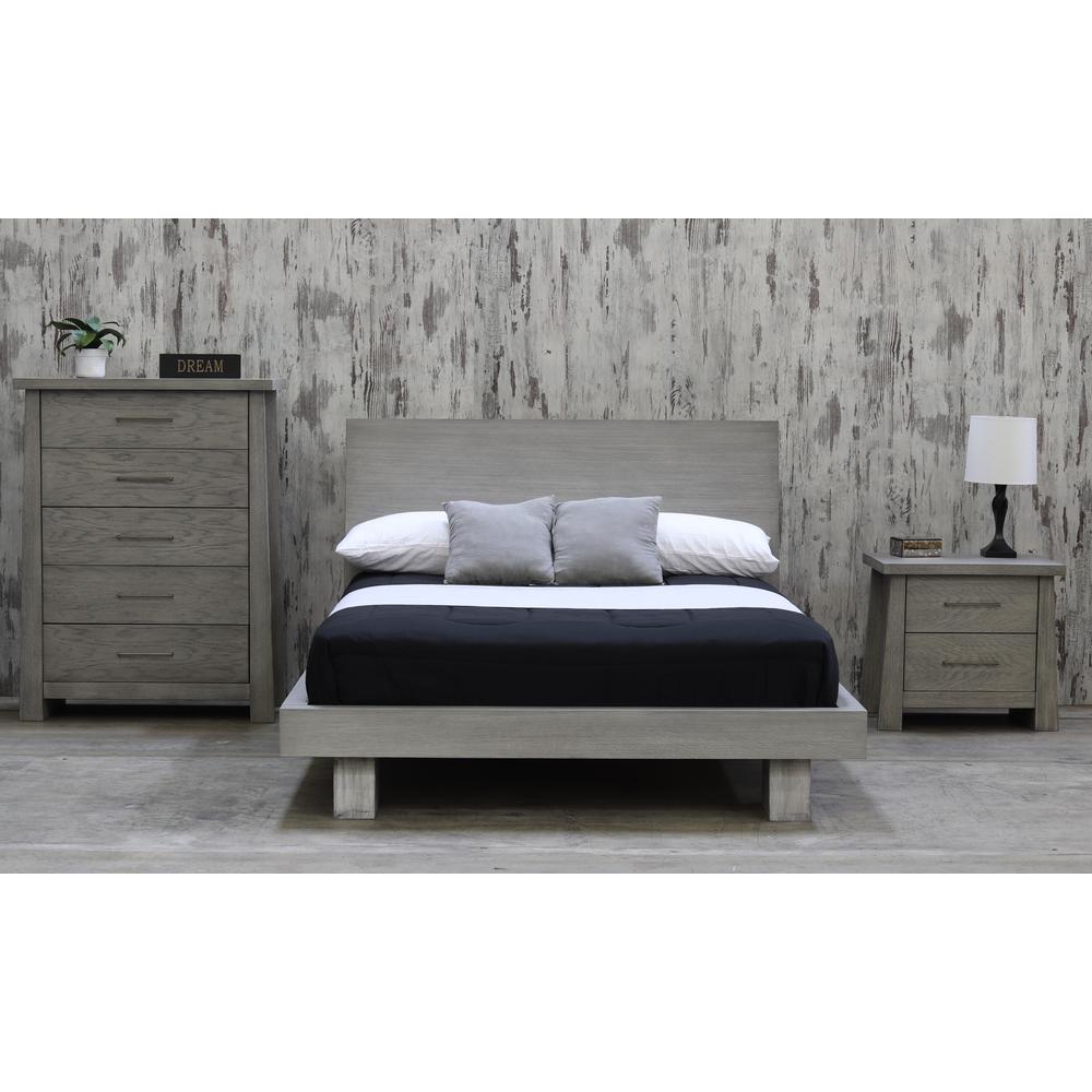 Fusion Driftwood King Headboard Platform Bed