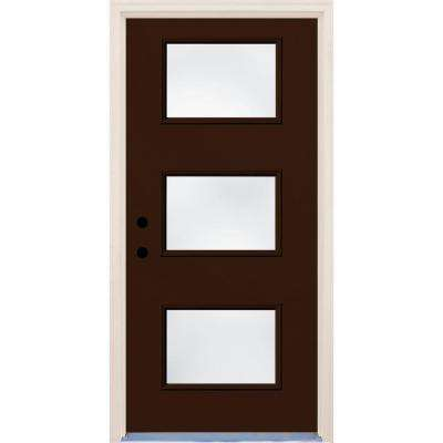 36 in. x 80 in. Right-Hand Earthen 3 Lite Clear Glass Painted Fiberglass Prehung Front Door with Brickmould