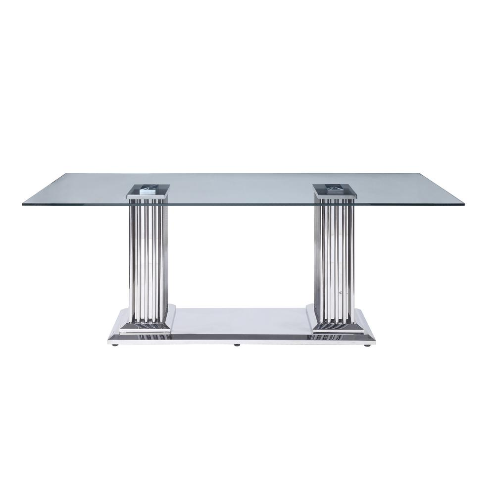 Acme Furniture Cyrene Stainless Steel And Clear Glass Dining Table With Double Pedestal 62075 The Home Depot