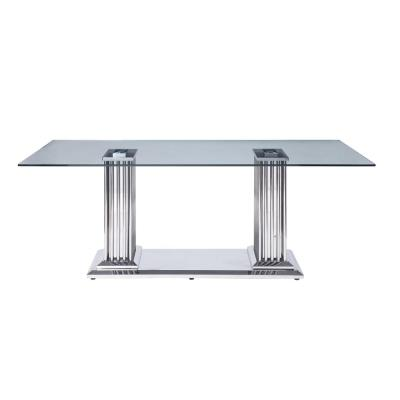 Cyrene Stainless Steel and Clear Glass Dining Table with Double Pedestal