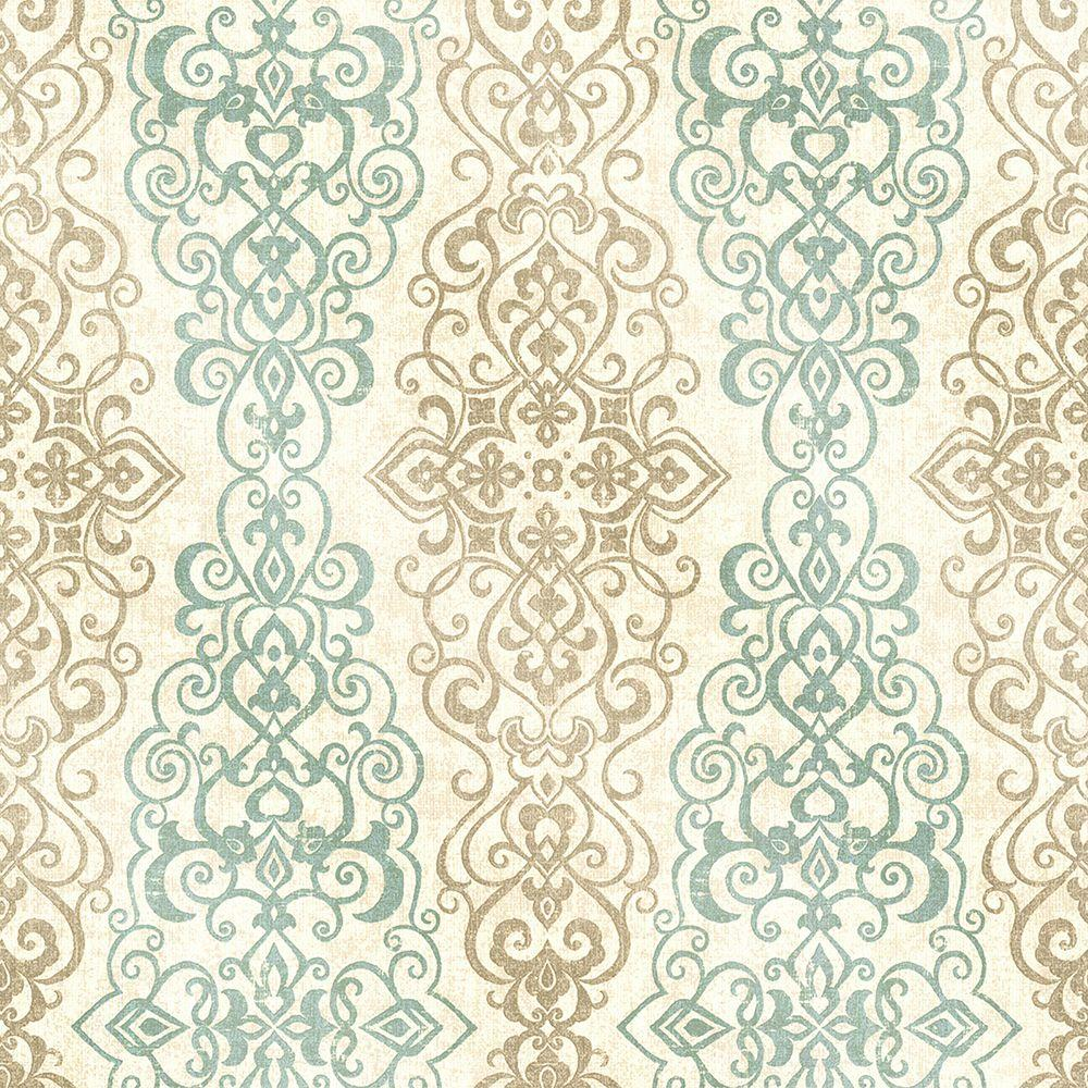 Mexuar Aqua (Blue) Filigree Stripe Wallpaper