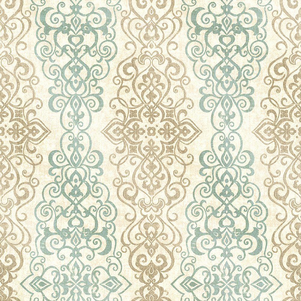 Mexuar Aqua Filigree Stripe Wallpaper