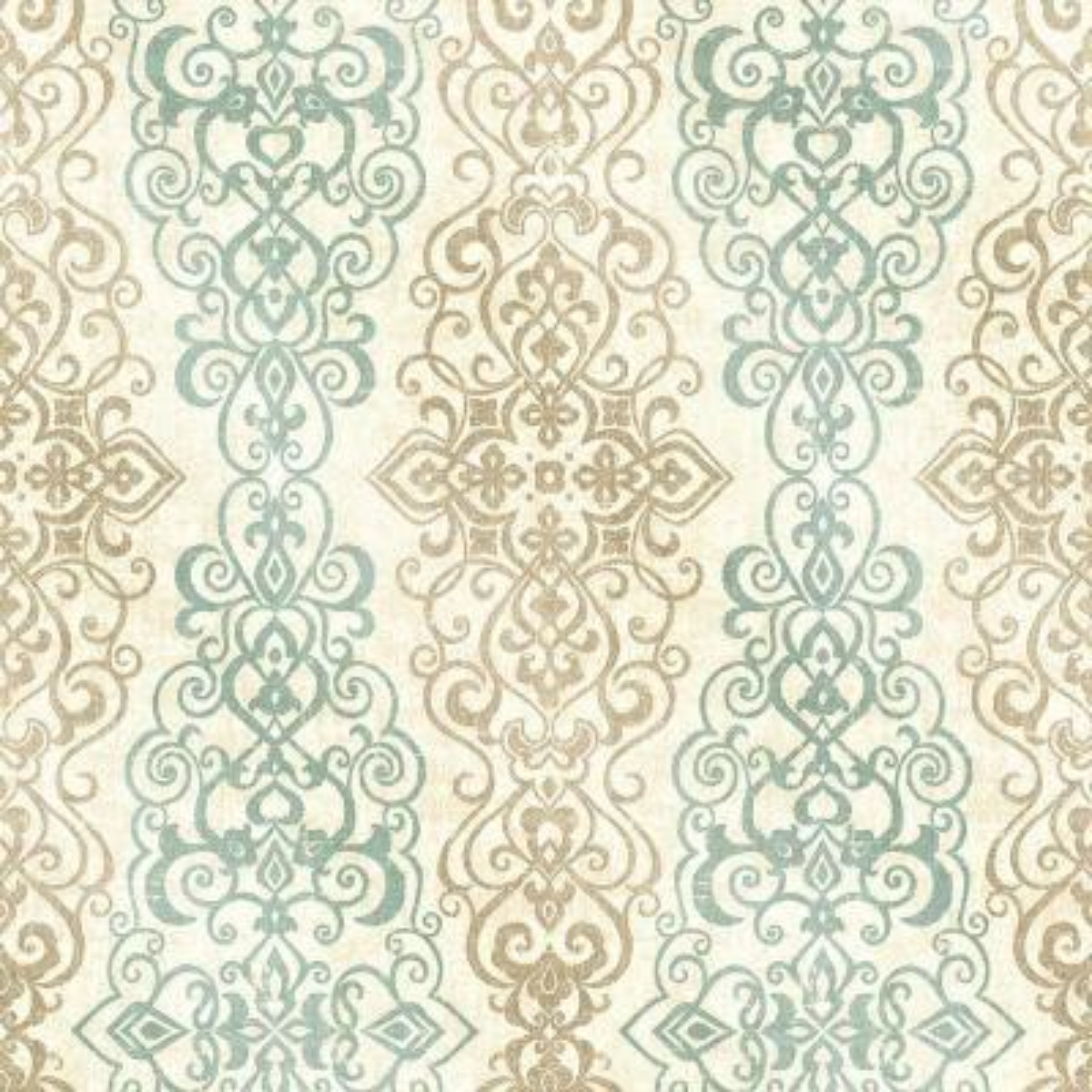 Mexuar Aqua Filigree Stripe Wallpaper Sample