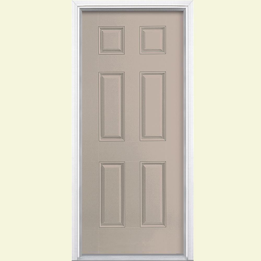 Masonite 36 in. x 80 in. 6-Panel Canyon View Right-Hand Inswing Painted Smooth Fiberglass Prehung Front Door with Brickmold