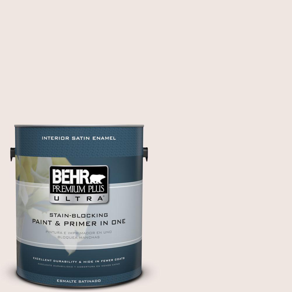 BEHR Premium Plus Ultra 1-gal. #PR-W12 Timid White Satin Enamel Interior Paint