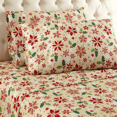 4-Piece Poinsettia Full Sheet Set