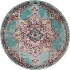 Medici Valencia Light Blue 6' 0 x 6' 0 Round Rug