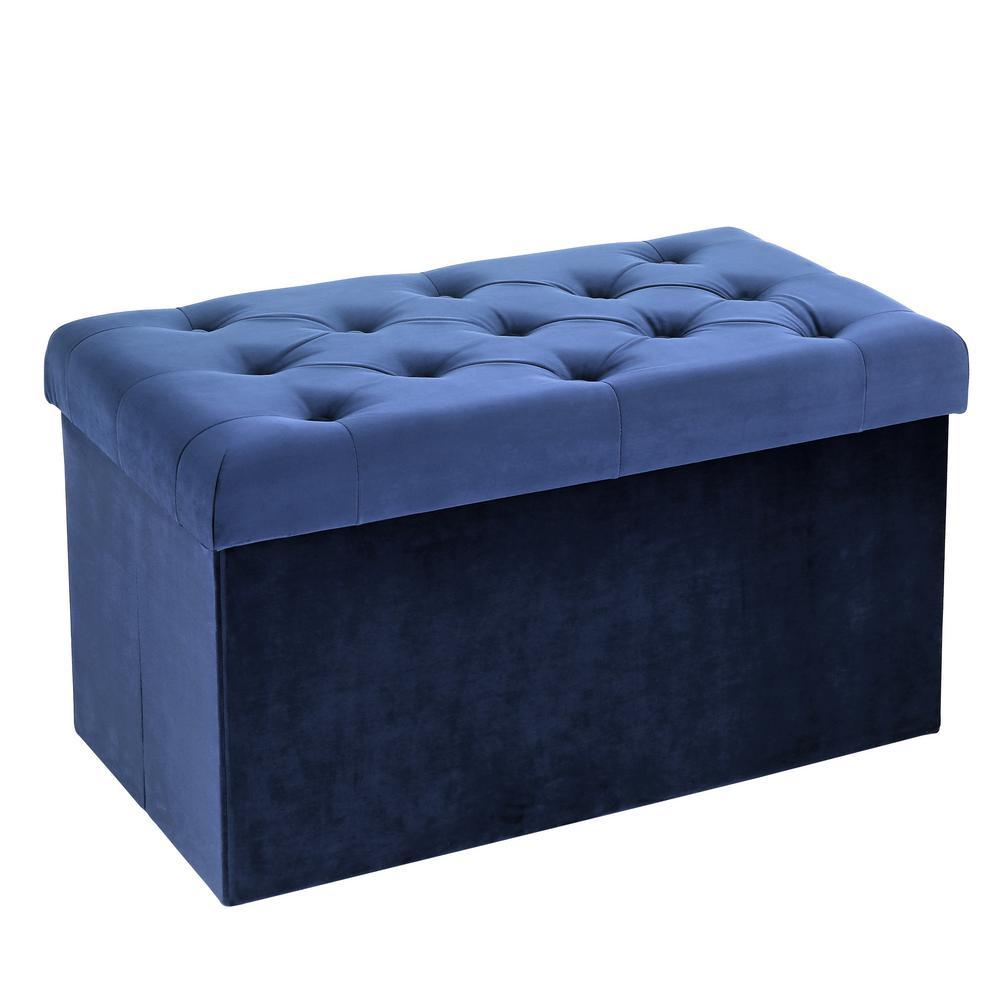 Lauren Blue Velvet Rectangular Storage Ottoman