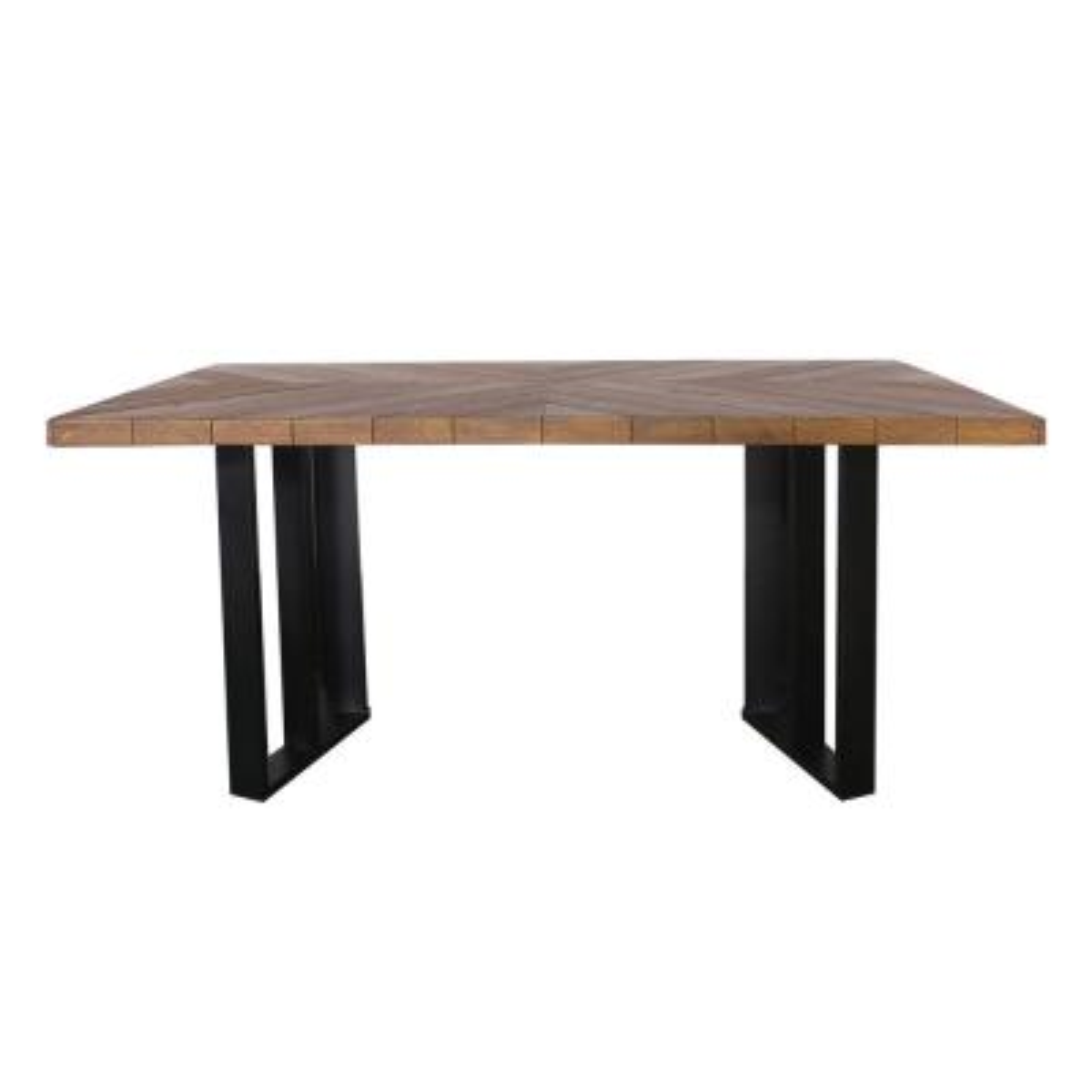 Verona Textured Brown Rectangular Light-Weight Concrete Outdoor Dining Table