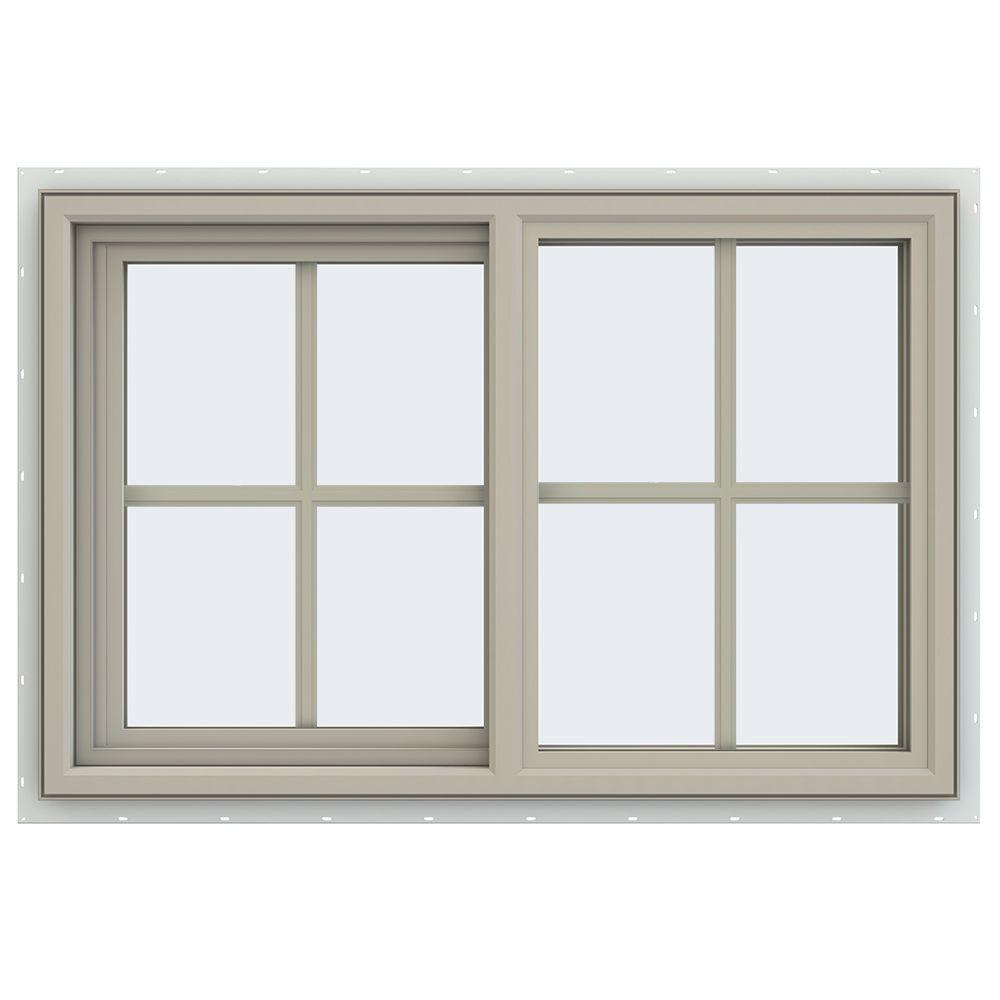 JELD-WEN 35.5 in. x 23.5 in. V-4500 Series Left-Hand Sliding Vinyl Window with Grids - Tan