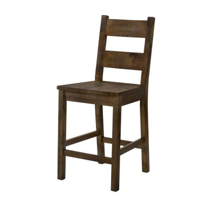Stella 24.5 in. Rustic Oak Wood Ladder Counter Height Chairs (Set of 2)