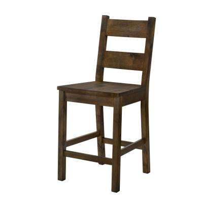 Stella Rustic Oak Wood Ladder Counter Height Chair (Set of 2)