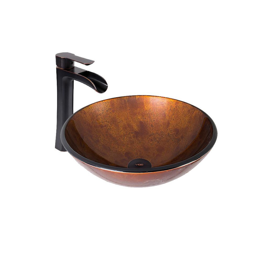 VIGO Vessel Sink in Russet and Niko Faucet Set in Antique Rubbed Bronze by VIGO