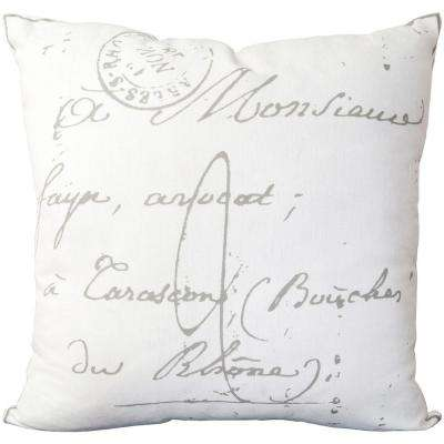 Assignat Ivory Letter Print 18 in. x 18 in. Decorative Pillow