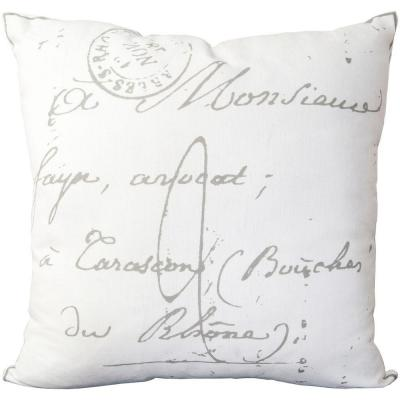 Assignat Ivory Graphic Polyester 18 in. x 18 in. Throw Pillow