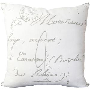 Artistic Weavers Assignat Ivory Letter Print 18 inch x 18 inch Decorative Pillow by Artistic Weavers