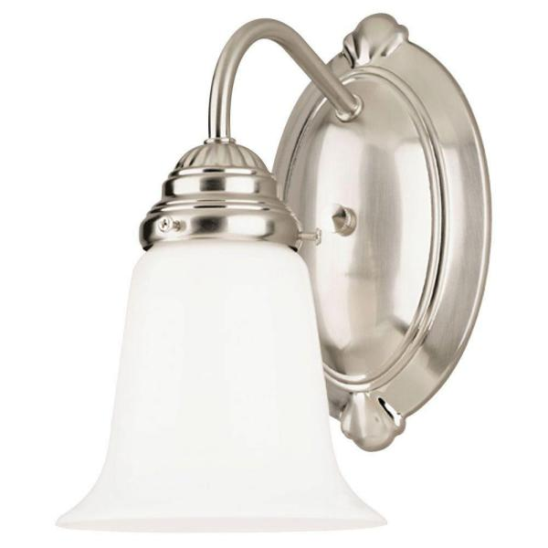 1-Light Brushed Nickel Interior Wall Fixture with White Opal Glass
