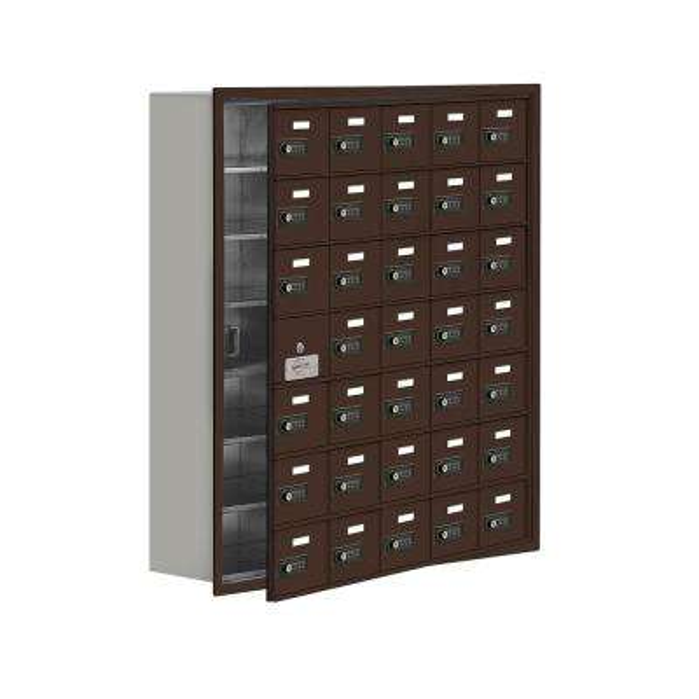 19100 Series 35.75 in. W x 40.75 in. H x 8.75 in. D 34 Doors Cell Phone Locker Recess Mount Resettable Lock in Bronze