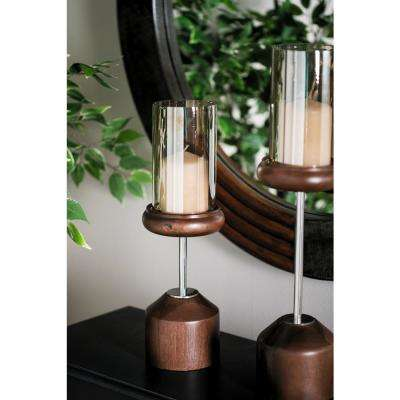 17 in. Smoked Beige Glass and Brown Mango Wood Hurricane Candle Holder