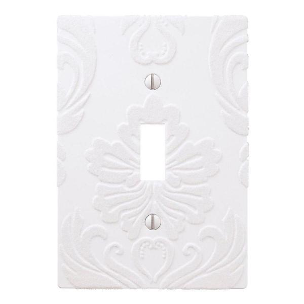 Amerelle Damask 1 Gang Toggle Composite Wall Plate White 40tw The Home Depot