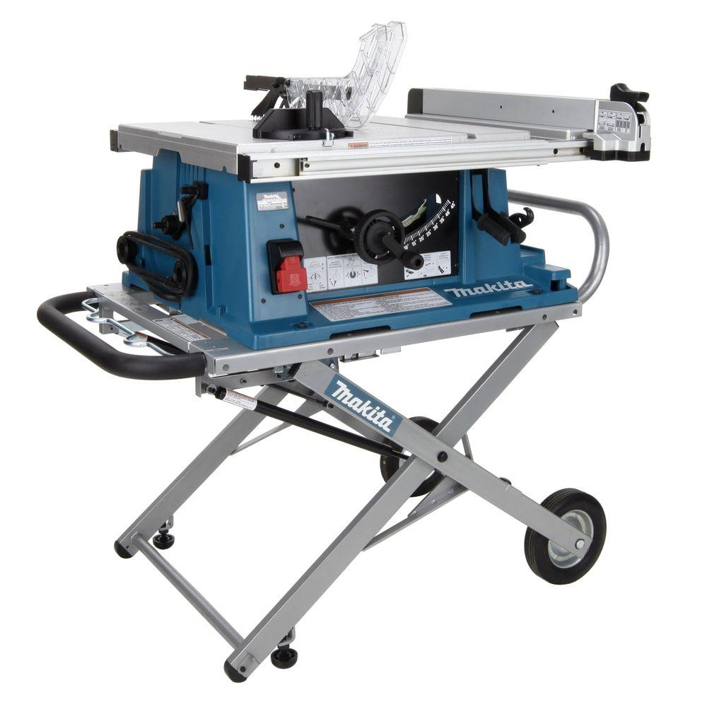 Makita 15 Amp 10 In Corded Contractor Table Saw With Portable Stand 25 In Rip Capacity And 32t Carbide Blade