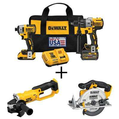 FLEXVOLT 60-Volt and 20-Volt MAX Lithium-Ion Cordless Brushless Combo Kit (2-Tool) with Bonus Grinder and Circular Saw