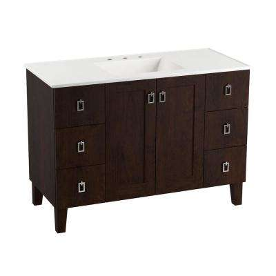 Poplin 48 in. Vanity in Claret Suede with Marble Vanity Top in Carrara with White Basin