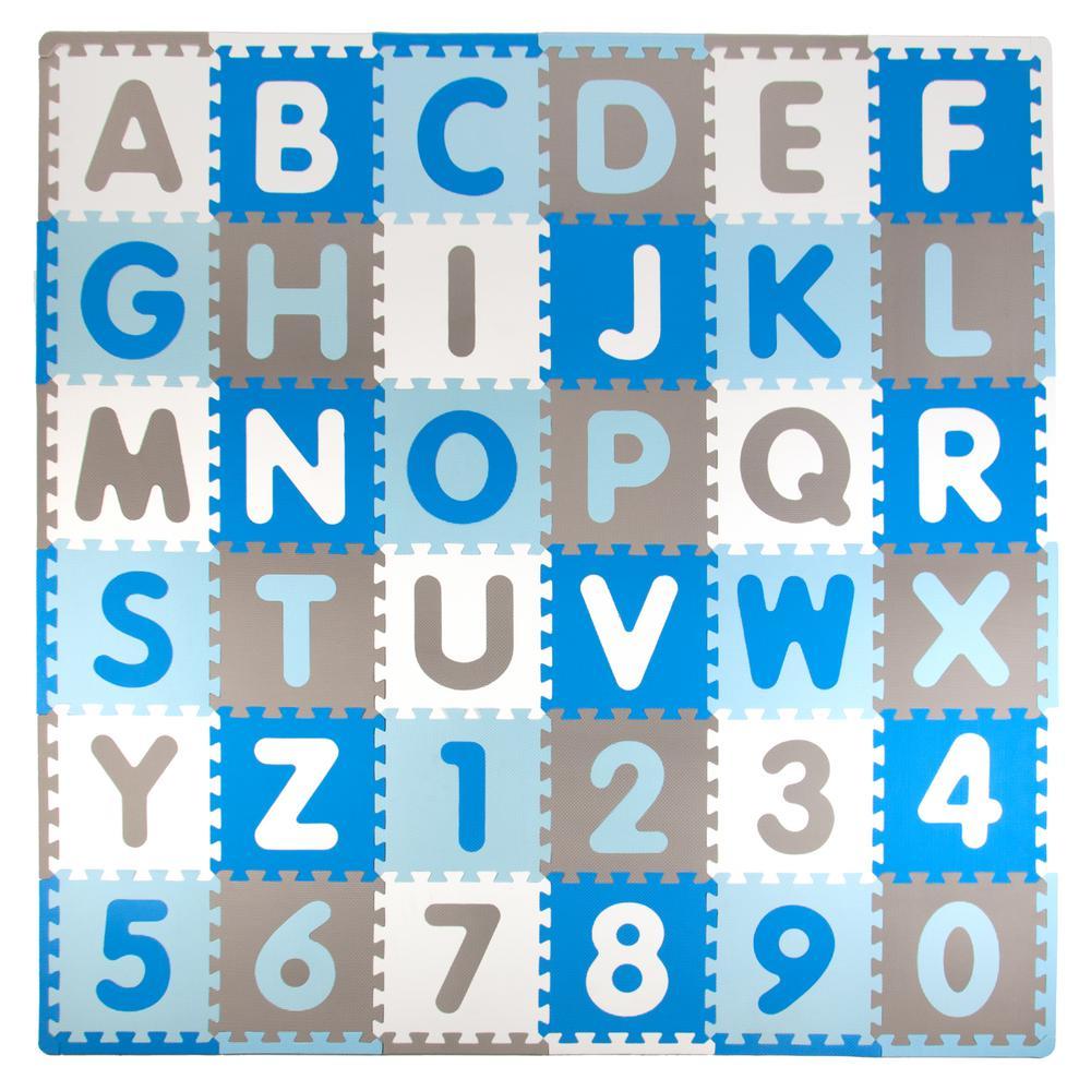 Blue/Gray 72 in. x 72 in. Residential Floor Mat Set