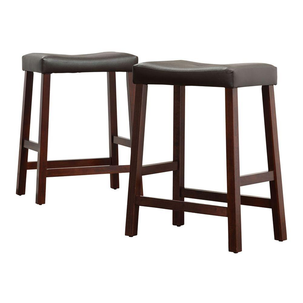 Home Decorators Collection 24 in. Cherry Vinyl Saddleback Stools (Set of 2) - DISCONTINUED