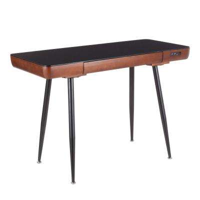Boom Bluetooth Walnut Wood with Black Tempered Glass Top Capable Desk