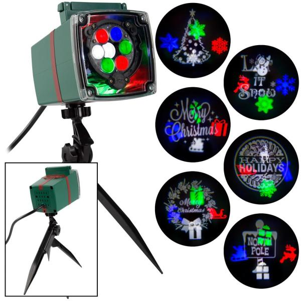 Christmas Lightshow Projection Whirl-a-Motion and Static with 6-Slides