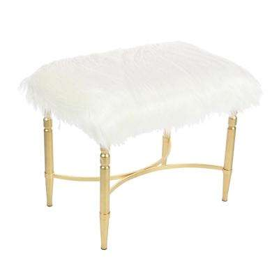 26 in. x 20 in. Metal and Faux Fur White Stool