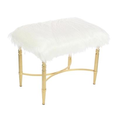 Litton Lane 26 in. x 20 in. Metal and Faux Fur White Stool, White/Brown