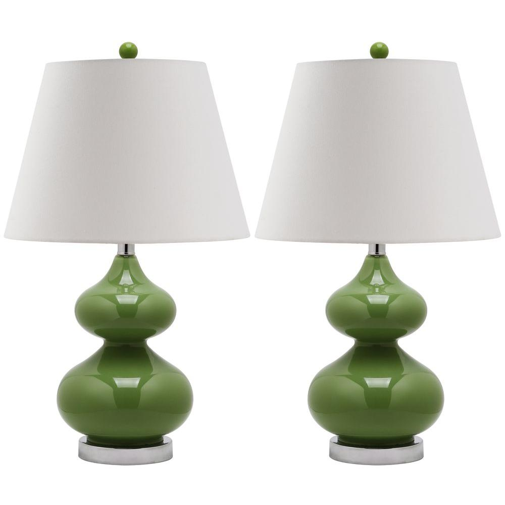 Eva 24 in. Fern Green Double Gourd Glass Lamp (Set of