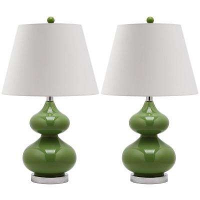Eva 24 in. Fern Green Double Gourd Glass Lamp (Set of 2)