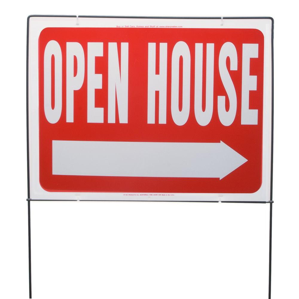 HY-KO 18 in. x 24 in. Plastic Open House Sign with Lawn Frame-RSF ...