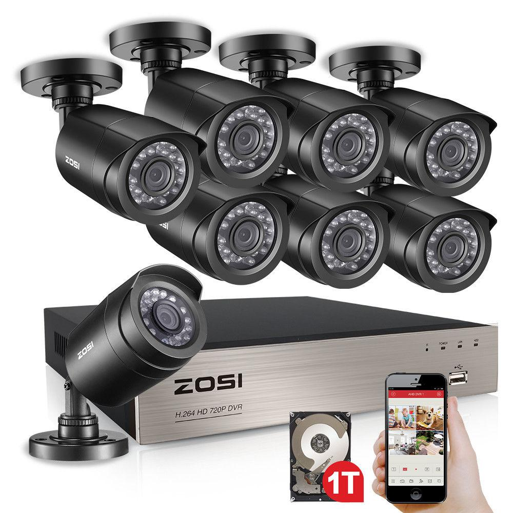 ZOSI 8-Channel 720P 1TB DVR Surveillance System with 8-Wired Bullet Cameras