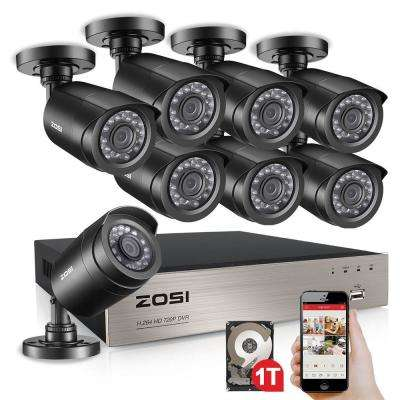 8-Channel 720P 1TB DVR Surveillance System with 8-Wired Bullet Cameras