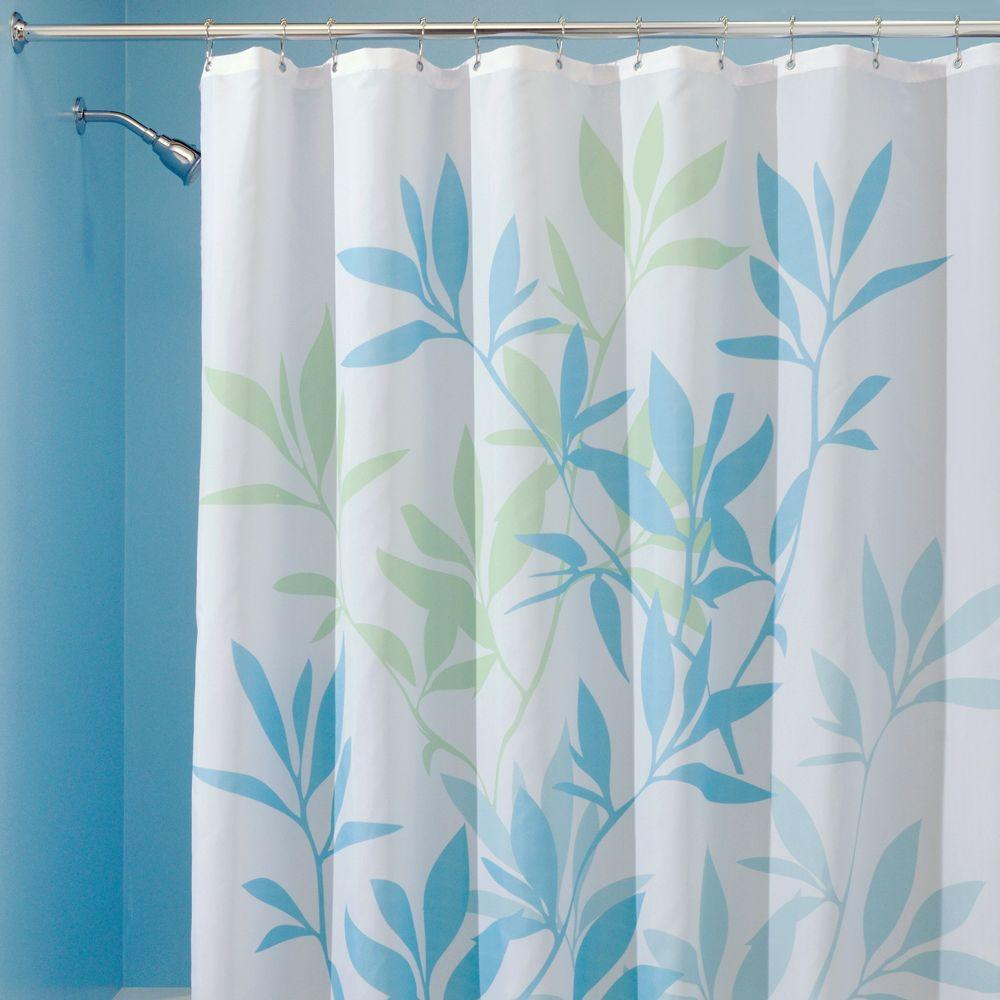 Blue Polyster Leaves Shower Curtain