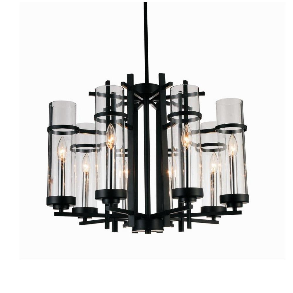 CWI Lighting Sierra 8-Light Black Chandelier