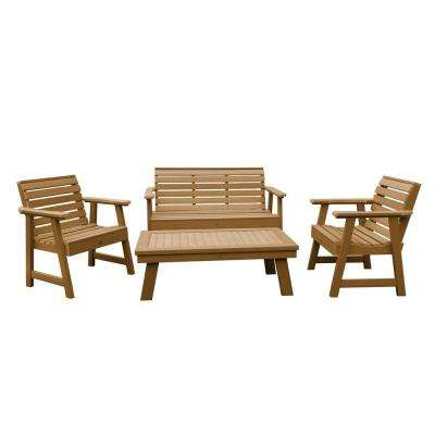 Weatherly Toffee 4-Piece Recycled Plastic Outdoor Conversation Set
