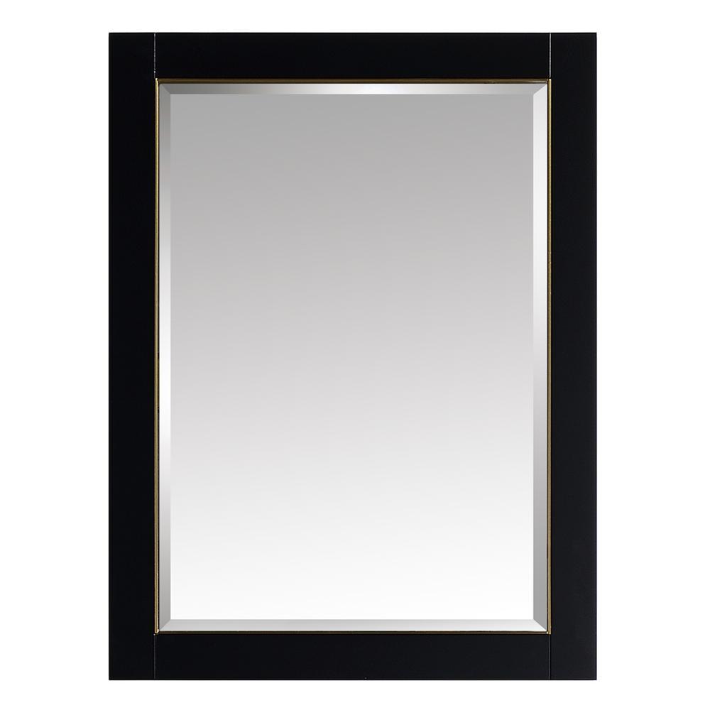 Avanity Mason 24 In W X 32 H Single Wall Mirror Black With Gold Trim